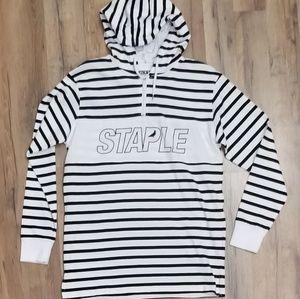 Staple long sleeves hooded shirt
